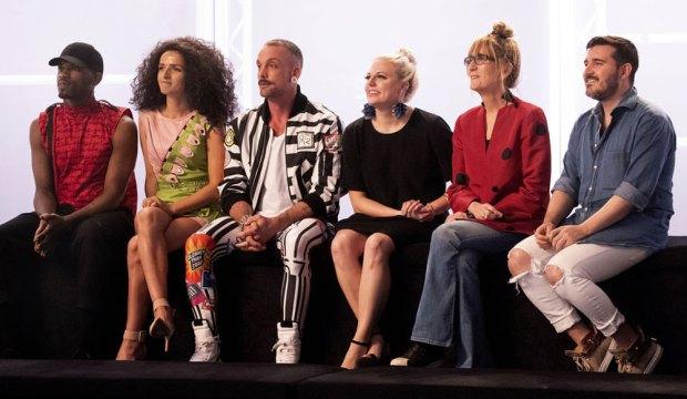 "PROJECT RUNWAY -- ""The Height of Avant-Garde Fashion"" Episode 1812 -- Pictured: (l-r) Marquise Foster, Victoria Cocieru, Geoffrey Mac, Brittany Allen, Nancy Volpe-Beringer, Sergio Guadarrama -- (Photo by: Barbara Nitke/Bravo)"