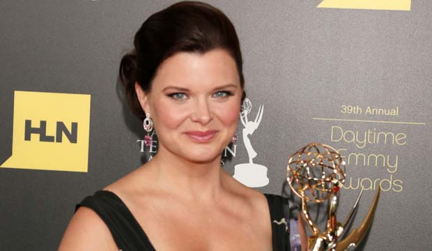"The Daytime Emmy Awards Press Room, Beverly Hills, USA Heather Tom poses backstage with the award for lead actress in a drama series for ""The Bold and the Beautiful"" at the 39th Annual Daytime Emmy Awards at the Beverly Hilton Hotel on in Beverly Hills, Calif"