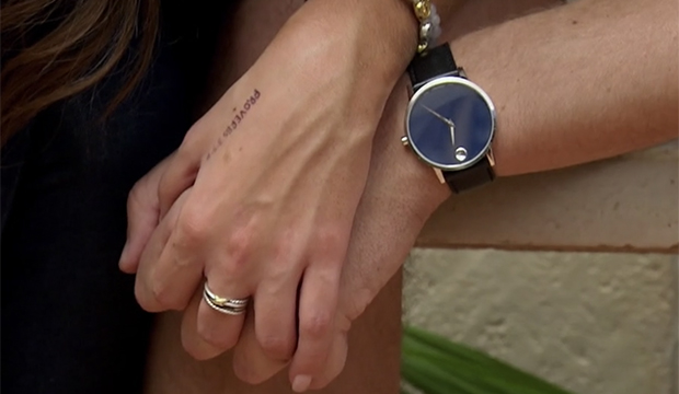 Madison Prewett's hand message and Peter Weber, The Bachelor