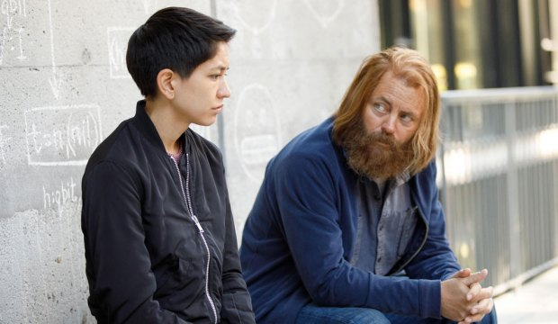 """DEVS """"Episode 2"""" (Airs Thursday, March 5) -- Pictured: (l-r) Sonoya Mizuno as Lily, Nick Offerman as Forest. CR: Raymond Liu/FX"""