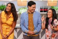 "TOP CHEF -- ""Strokes of Genius"" Episode 1703 -- Pictured: (l-r) Padma Lakshmi, Randall Park, Ali Wong -- (Photo by: Nicole Weingart/Bravo)"