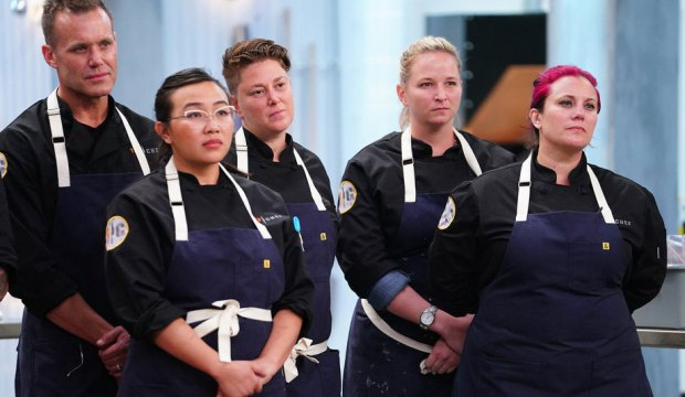 "TOP CHEF -- ""It's Like They Never Left!"" Episode 1701 -- Pictured: (l-r) Brian Malarkey, Nini Nguyen, Lisa Fernandes, Stephanie Cmar, Karen Akunowicz -- (Photo by: Nicole Weingart/Bravo)"
