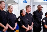 """TOP CHEF -- """"Bring Your Loved One to Work"""" Episode 1705 -- Pictured: (l-r) Brian Malarkey, Stephanie Cmar, Nini Nguyen, Bryan Voltaggio, Gregory Gourdet, Lee Anne Wong, Jennifer Carroll, Eric Adjepong, Kevin Gillespie, Karen Akunowicz, Melissa King -- (Photo by: Nicole Weingart/Bravo)"""