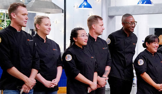 "TOP CHEF -- ""Bring Your Loved One to Work"" Episode 1705 -- Pictured: (l-r) Brian Malarkey, Stephanie Cmar, Nini Nguyen, Bryan Voltaggio, Gregory Gourdet, Lee Anne Wong, Jennifer Carroll, Eric Adjepong, Kevin Gillespie, Karen Akunowicz, Melissa King -- (Photo by: Nicole Weingart/Bravo)"