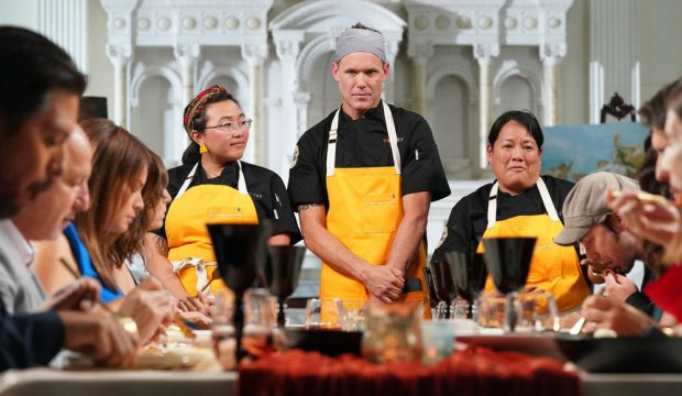 "TOP CHEF -- ""Strokes of Genius"" Episode 1703 -- Pictured: (l-r) Nini Nguyen, Brian Malarkey, Lee Anne Wong -- (Photo by: Nicole Weingart/Bravo)"