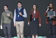 Season 6, Episode 7. Thomas Middleditch, Zach Woods, Amanda Crew, Martin Starr. photo: Eddy Chen/HBO