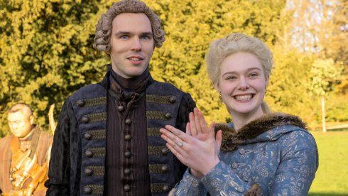 Elle Fanning and Nicholas Hoult in The Great on Hulu