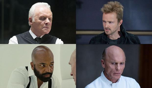Anthony Hopkins, Aaron Paul, Jeffrey Wright and Ed Harris in Westworld on HBO