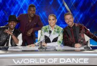 WORLD OF DANCE -- Pictured: (l-r) Ne-Yo, Scott Evans, Jennifer Lopez, Derek Hough -- (Photo by: Trae Patton/NBC)