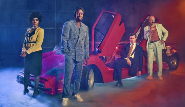 (L-R): Regina Hall as Dawn, Don Cheadle as Mo, Andrew Rannells as Blair and Paul Scheer as Keith in BLACK MONDAY. Photo Credit: Kurt Iswarienko/SHOWTIME.