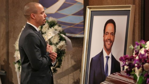 Devon Hamilton (Bryton James) delivers a eulogy at Neil's funeral. THE YOUNG AND THE RESTLESS, scheduled to air on the CBS Television Network. Photo: Michael Yarish/CBS ©2019 CBS Broadcasting, Inc. All Rights Reserved