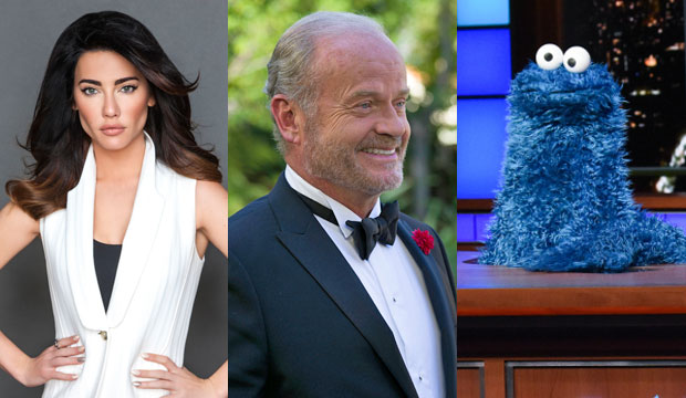 Daytime Emmy presenters Jacqueline MacInnes Wood, Kelsey Grammer and Cookie Monster