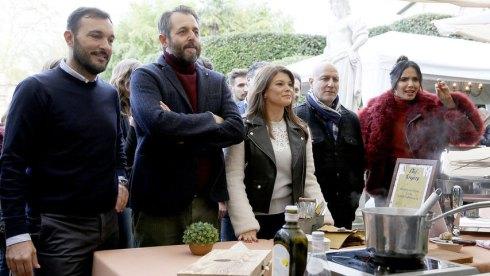 """TOP CHEF -- """"Lucca"""" Episode 1712 -- Pictured: (l-r) Cristiano Savini, Cristiano Tomei, Gail Simmons, Tom Colicchio, Padma Lakshmi -- (Photo by: Ernesto Ruscio/Bravo)"""
