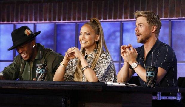 "WORLD OF DANCE -- ""Qualifiers"" Episode 402 -- Pictured: (l-r) Ne-Yo, Jennifer Lopez, Derek Hough -- (Photo by: Trae Patton/NBC)"