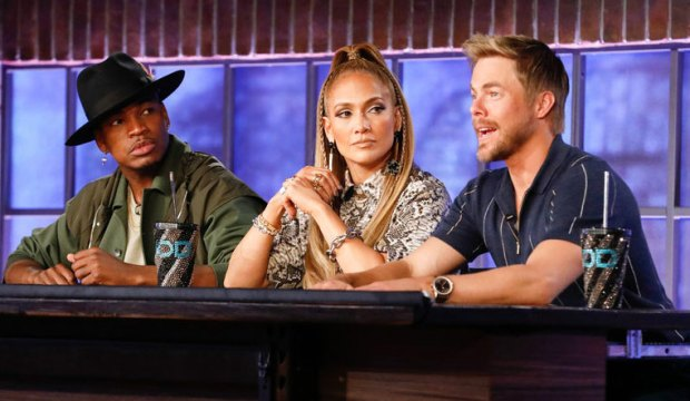 "WORLD OF DANCE -- ""Qualifiers"" -- Pictured: (l-r) Ne-Yo, Jennifer Lopez, Derek Hough -- (Photo by: Trae Patton/NBC)"