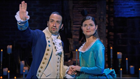 Lin Manuel Miranda and Phillipa Soo in Hamilton on Disney Plus