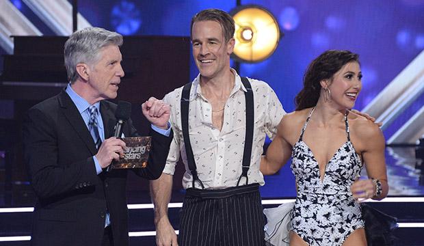Tom Bergeron, James Van Der Beek and Emma Slater, Dancing with the Stars
