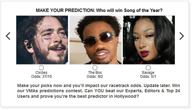 MTV VMAs Song of the Year widget
