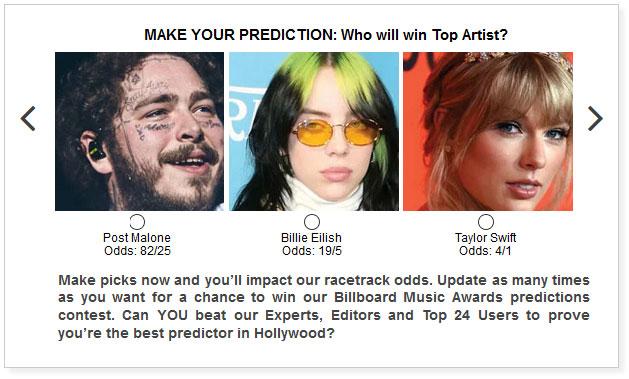 Billboard Music Awards predictions widget