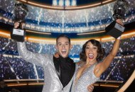 Adam Rippon and Jenna Johnson winning Dancing with the Stars DWTS