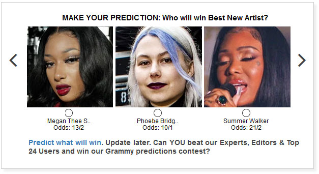 Grammy Best New Artist widget