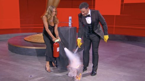 Jennifer Aniston and Jimmy Kimmel at Emmys 2020