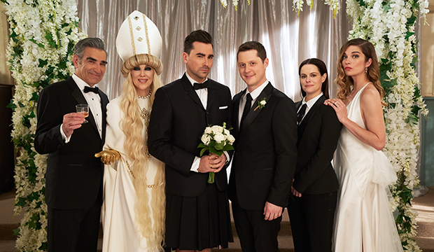 Eugene Levy, Catherine O'Hara, Dan Levy, Noah Reid, Emily Hampshire and Annie Murphy, Schitt's Creek