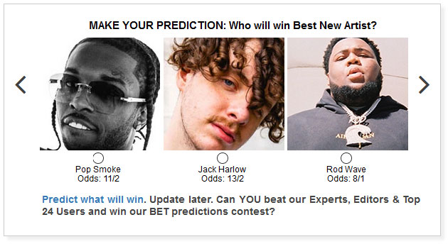 BET Hip Hop Awards New Artist widget