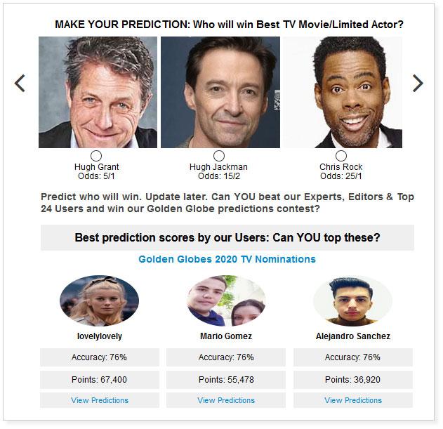 Golden Globe Movie Limited Actor widget