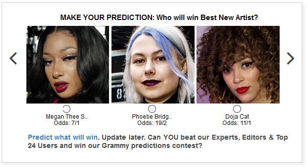 Grammys Best New Artist widget