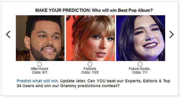 Grammys Best Pop Album widget