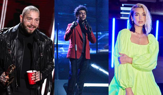 Post Malone, The Weeknd and Dua Lipa