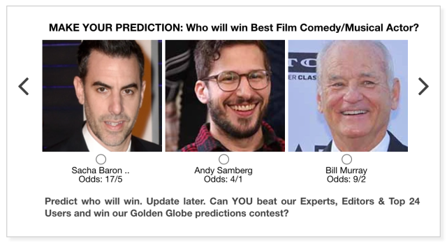 Golden Globes 2021 Best Film Comedy/Musical Actor predictions