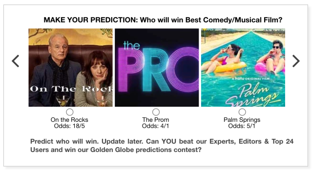 Golden Globes 2021 Best Comedy/Musical Film predictions