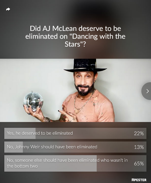 dancing with the stars aj mclean elimination poll results dwts
