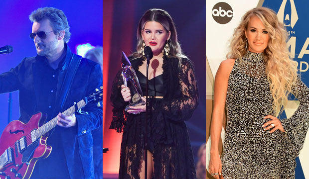 Eric Church, Maren Morris and Carrie Underwood at CMA Awards 2020