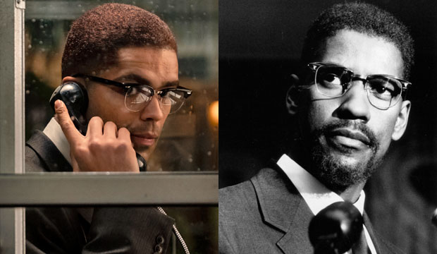 Kingsley Ben Adir and Denzel Washington as Malcolm X