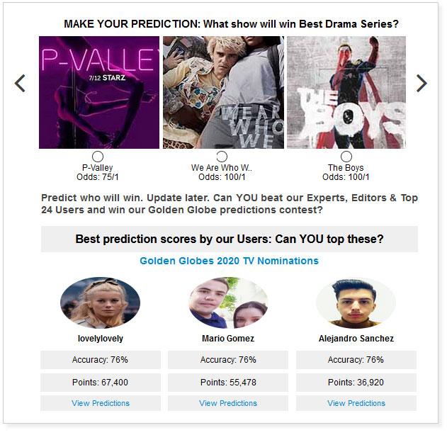 Golden Globes Best TV Drama Series widget