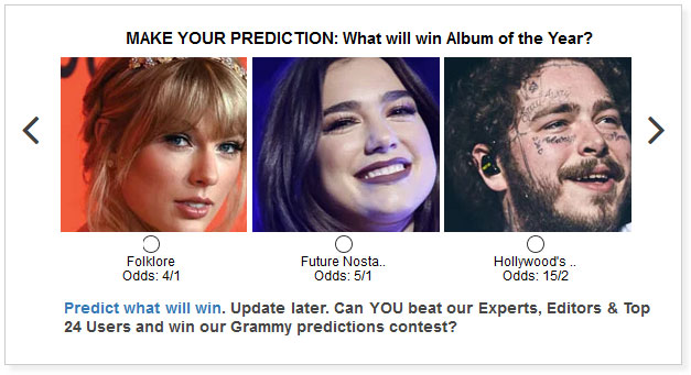Grammy Album of the Year predictions widget
