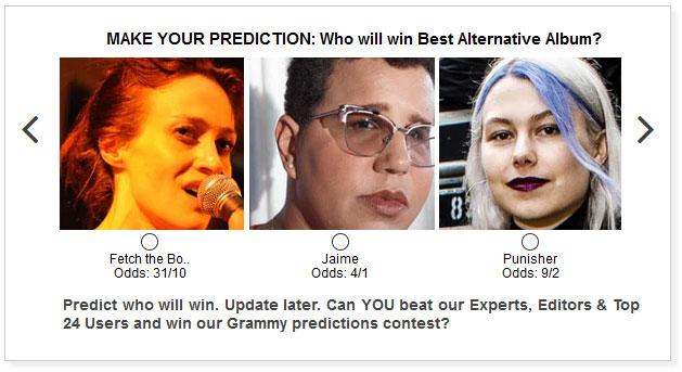 Grammys Best Alternative Album widget