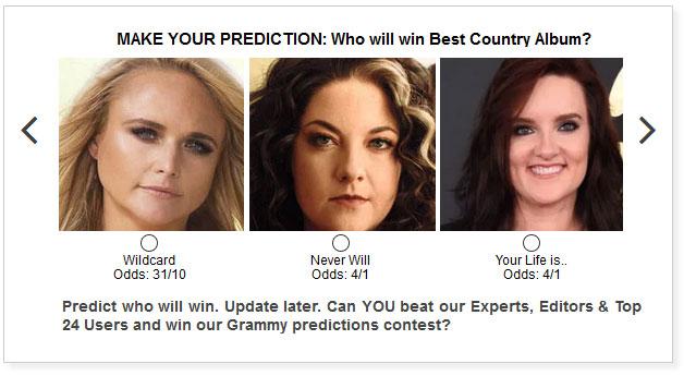 Grammys Best Country Album widget