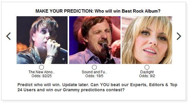 Grammys Best Rock Album widget