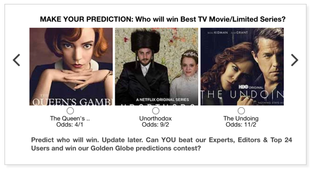 Golden Globes 2021 Best TV Movie/Limited Series predictions