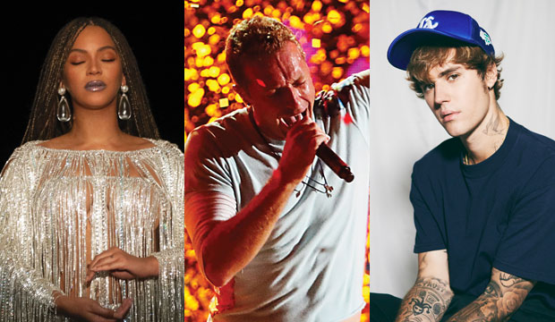 Beyonce, Coldplay and Justin Bieber