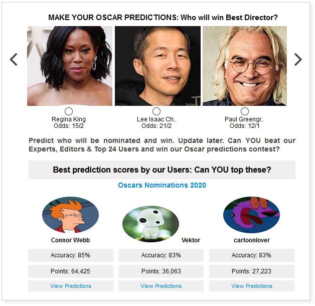 Oscars Best Director widget