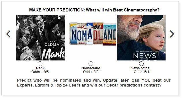 Oscars Best Cinematography widget