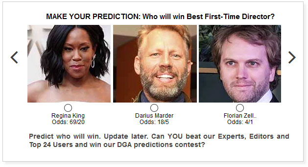 dga awards best first time director predictions widget