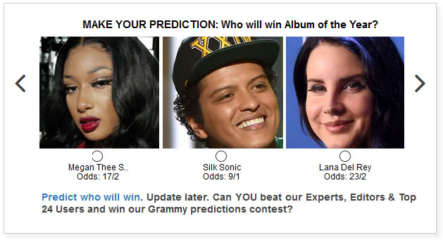 grammys album of the year predictions widget