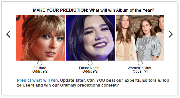 grammys album of the year predictions widget