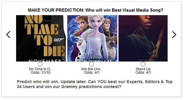 grammys best visual media song predictions widget